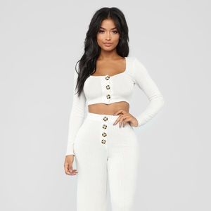 Fashion Nova New Snuggle Up To Me Pant Set Oatmeal